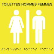Picto toilettes hommes femmes plaques de porte braille – Doal concept enseignes et signalétiques en ligne